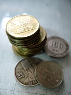 Korean coins in a pile