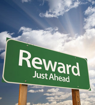 Reward Just Ahead Road Sign