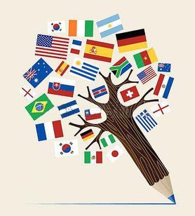 Flags of the world on a tree