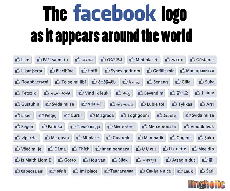 Facebook-button around the world