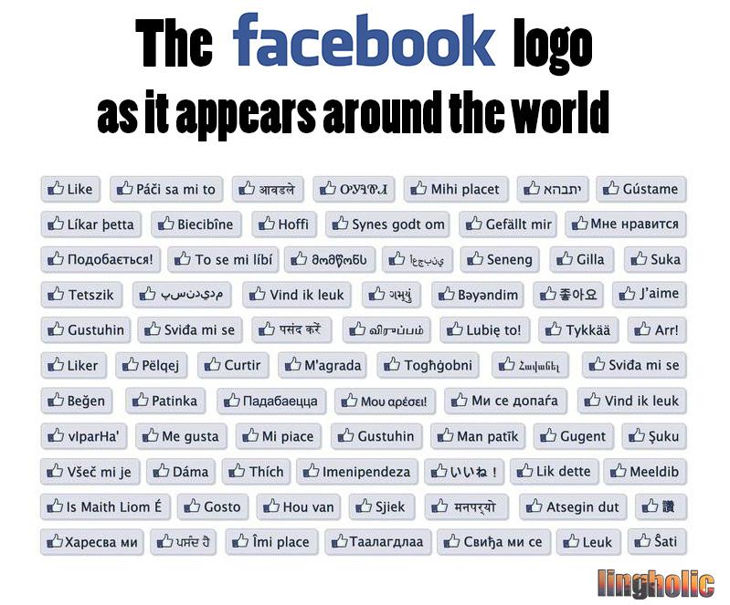 Facebook-button around the world