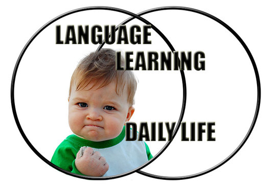 Language learning and daily life combined: success.