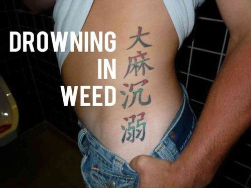 Drowning in weed tattoo