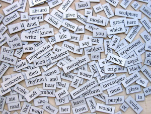 Words on a table