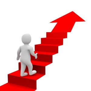 Climbing a staircase reaching goal
