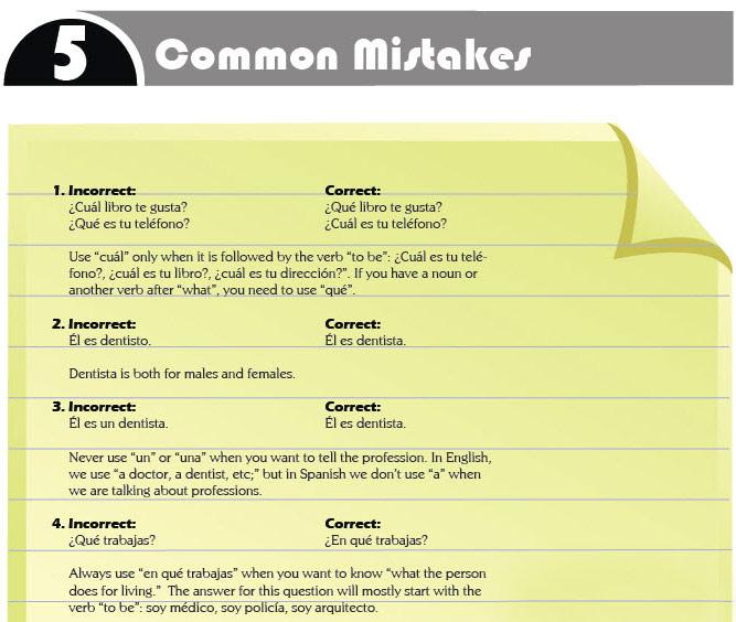 Common mistakes Spanish