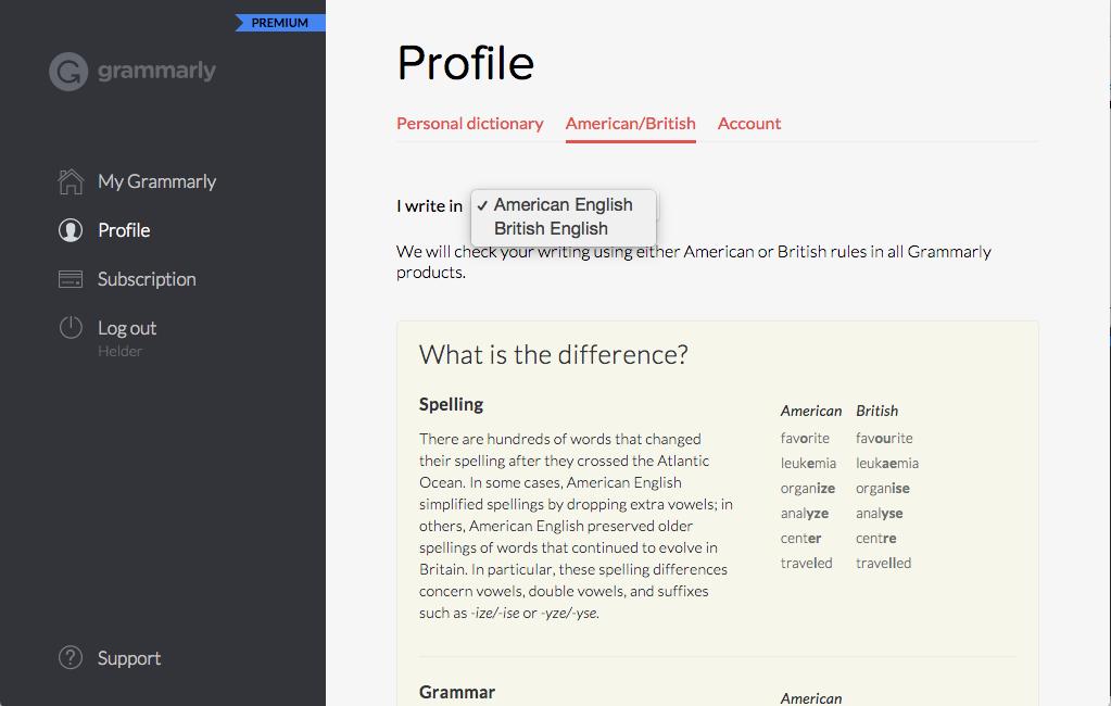 American English or British English Grammarly