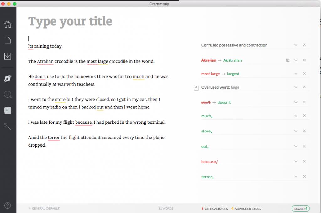 Grammarly error checker