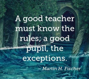 A good teacher must know the rules; a good pupil, the exceptions
